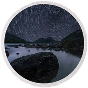 Star Trails Over Jordan Pond Round Beach Towel
