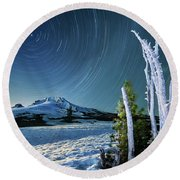 Round Beach Towel featuring the photograph Star Trails Over Mt. Hood by William Lee