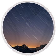 Star Trails Over The Apuan Alps Round Beach Towel