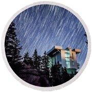 Star Trails Over The Large Binocular Telescope Round Beach Towel