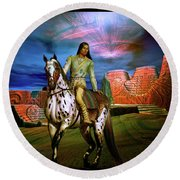 Round Beach Towel featuring the digital art Star Walker by Shadowlea Is