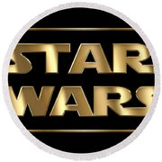 Star Wars Golden Typography On Black Round Beach Towel