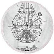 Star Wars Millennium Falcon Patent Round Beach Towel by Taylan Apukovska