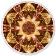 Starbright Mandala Round Beach Towel by Wernher Krutein