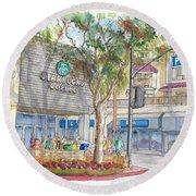 Starbucks Coffee In San Fernando Rd And Palms, Burbank, California Round Beach Towel