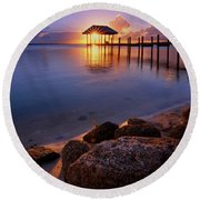 Round Beach Towel featuring the photograph Starburst Sunset Over House Of Refuge Pier In Hutchinson Island At Jensen Beach, Fla by Justin Kelefas
