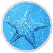 Starfish In Blue Round Beach Towel