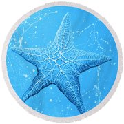 Starfish In Blue Round Beach Towel