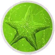 Starfish In Green Round Beach Towel