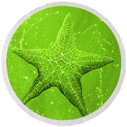 Starfish In Green Round Beach Towel