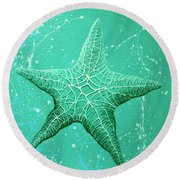 Starfish In Teal Round Beach Towel