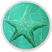 Starfish In Teal Round Beach Towel