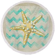 Starfish In Modern Waves Round Beach Towel by Sandi OReilly