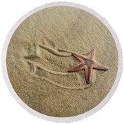 Starfish On The Beach Round Beach Towel by Debra Martz