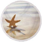 Starfish On The Beach Round Beach Towel