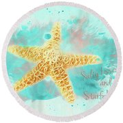 Round Beach Towel featuring the photograph Starfish Wishes by Darren Fisher