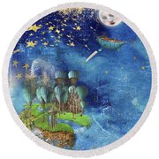 Starfishing In A Mystical Land Round Beach Towel