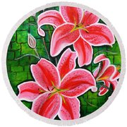 Stargazer Lilies Bold And Vibrant Floral Painting On Canvas Round Beach Towel