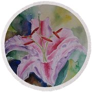 Stargazer Lily Watercolor Still Life Gift  Round Beach Towel by Geeta Biswas