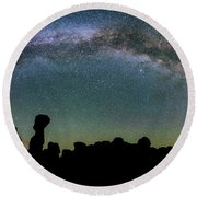 Round Beach Towel featuring the photograph Stargazing Family by Darren White