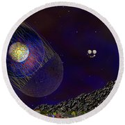 Round Beach Towel featuring the digital art Stargeist Contact by Iowan Stone-Flowers