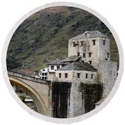 Stari Most Ottoman Bridge And Embankment Fortification Mostar Bosnia Herzegovina Round Beach Towel