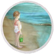 Staring At The Sea Round Beach Towel