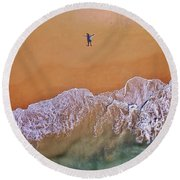 Round Beach Towel featuring the photograph Staring At The Sky by Keiran Lusk
