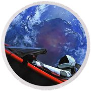 Starman In Tesla With Planet Earth Round Beach Towel
