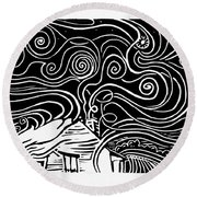 Starry Cabin Round Beach Towel