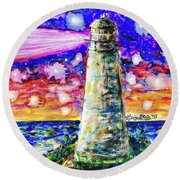 Starry Light Round Beach Towel