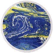 Starry Night Abstract Round Beach Towel by Menega Sabidussi
