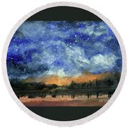 Starry Night Across Our Lake Round Beach Towel