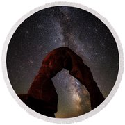 Starry Night At Delicate Arch Round Beach Towel