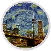 Starry Night Brooklyn Bridge Round Beach Towel by Movie Poster Prints