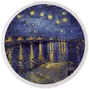 Round Beach Towel featuring the painting Starry Night Over The Rhone by Van Gogh