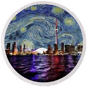 Round Beach Towel featuring the painting Starry Night Toronto Canada by Movie Poster Prints