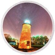 Starry Sky Over The Newburyport Harbor Light Round Beach Towel