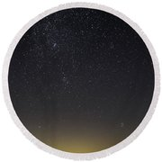 Starry Sky Over Virginia Farm Round Beach Towel