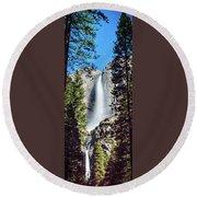 Starry Yosemite Falls Round Beach Towel