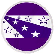 'stars 21' Or 'purple Stars' Round Beach Towel by Linda Velasquez