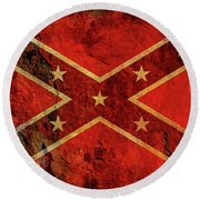 Stars And Bars Confederate Flag Round Beach Towel by Randy Steele