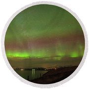 Stars And Northern Lights Round Beach Towel