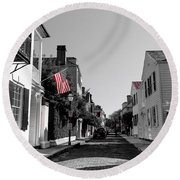 Stars And Stripes- Church St Charleston Sc Round Beach Towel