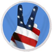 Round Beach Towel featuring the photograph Stars And Stripes Peace Sign .png by Al Powell Photography USA