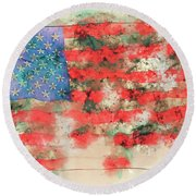 Stars And Stripes Watercolor Round Beach Towel