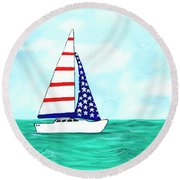Stars And Strips Sailboat Round Beach Towel by Darice Machel McGuire