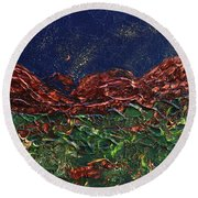 Stars Falling On Copper Moon Round Beach Towel by Donna Blackhall