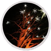 Stars In The Tree Round Beach Towel