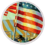 Stars, Stripes, And Cowboys Forever Round Beach Towel